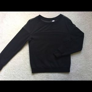 H&M Divided Black Mesh Sweatshirt Sz S